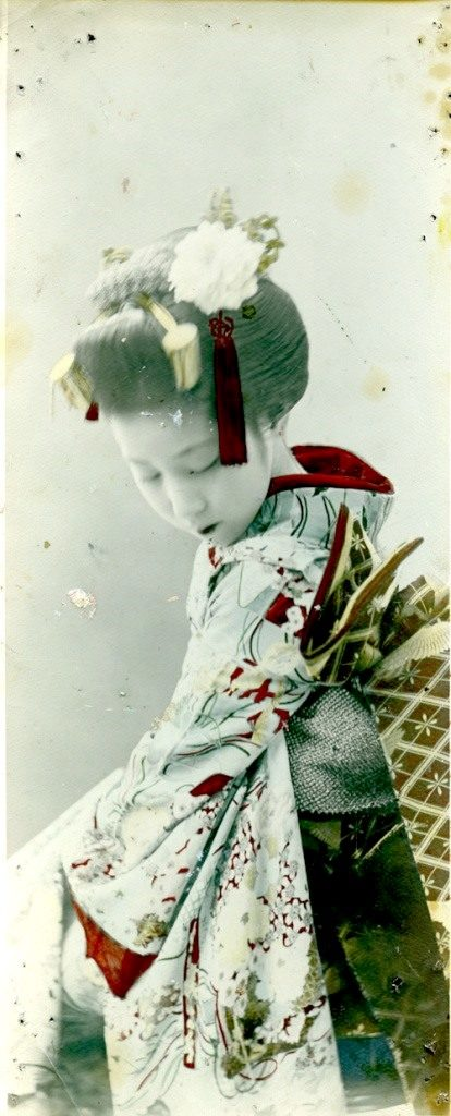Fig. 12. Geisha. Shashin print by unknown commercial photographer, c.1890 (note the paint and pin marks.) | © National Trust for Scotland, Broughton House and Garden
