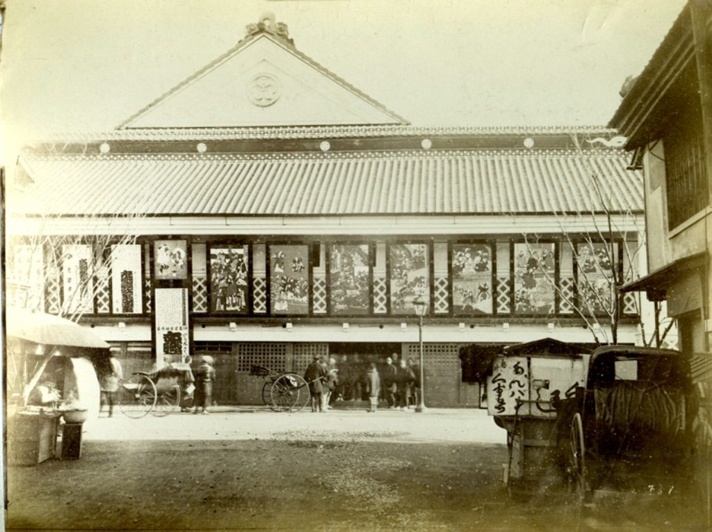 Fig. 6. Shintomi-za, the main Kabuki theatre in Tokyo, photograph collected by Hornel, 1893 | © National Trust for Scotland, Broughton House and Garden