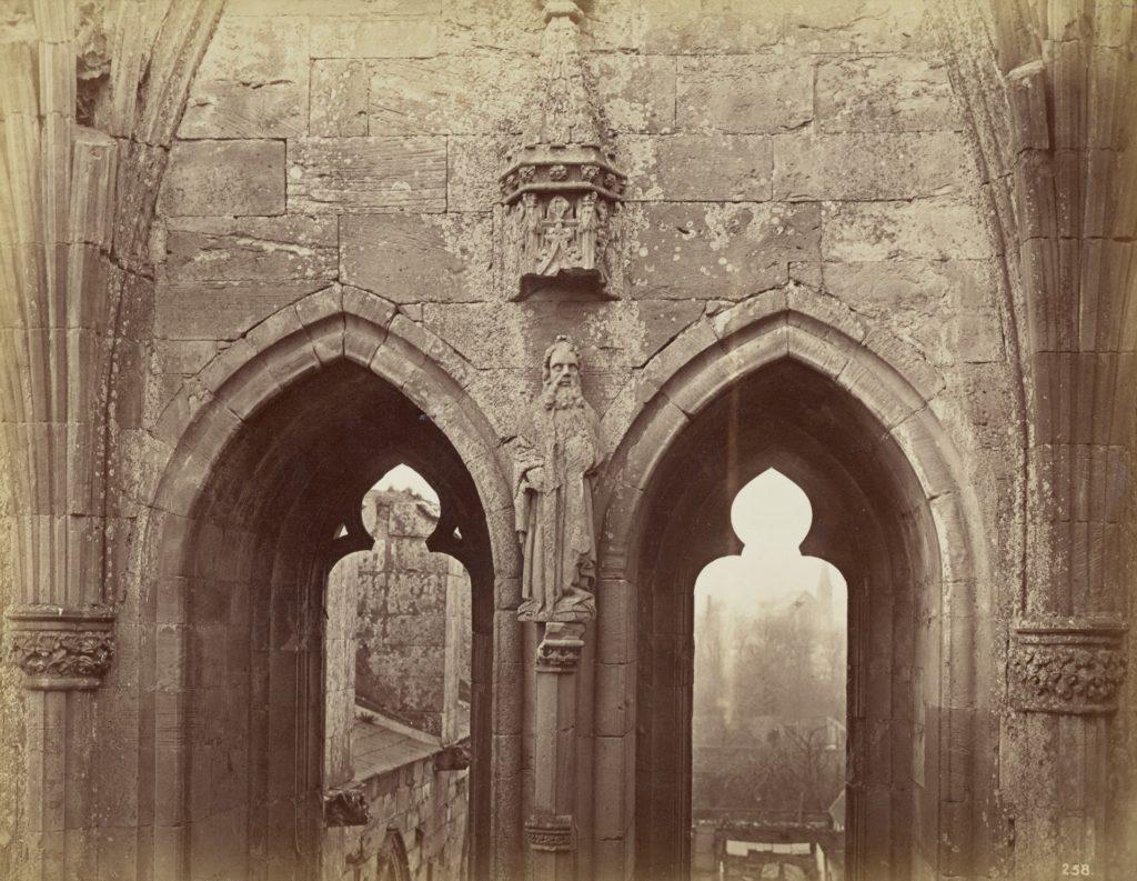 Lancet windows, Melrose Abbey, view, 1866